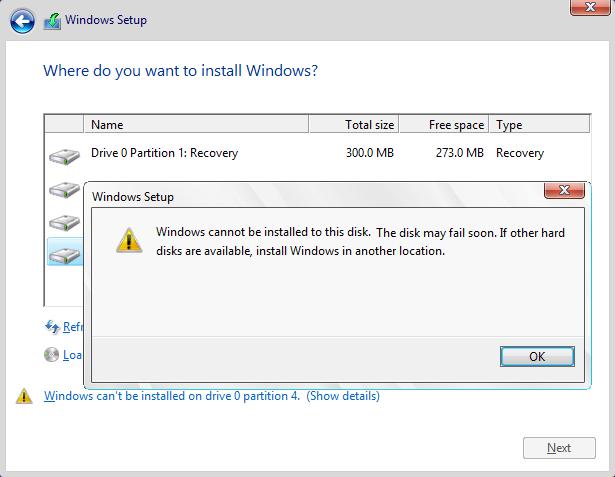 ارور the disk my fail soon موقع نصب ویندوز
